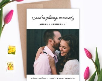 Wedding Save the Date - We're Getting Married - Ahhhhhh! - Card and Envelope