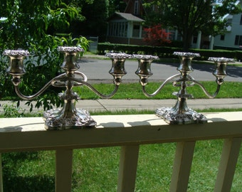 Vintage Set of two Silverplate Lanthe Style Twist Arm Rope Swirl Candelabra Candle Stick Holders Three Arm Six Light Art Nouveau Floral