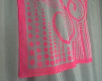 Pink Sheer Scarf Swirl Dot Neon Bright Headscarf Kerchief Hot Pink Vintage