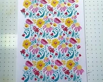 floral screen printed design