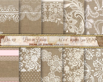 Lace on Burlap Digital Paper: Lace Burlap Wedding Invitation, Rustic Wedding Decor, Burlap Wedding Decorations, Lace Paper,  Des 032