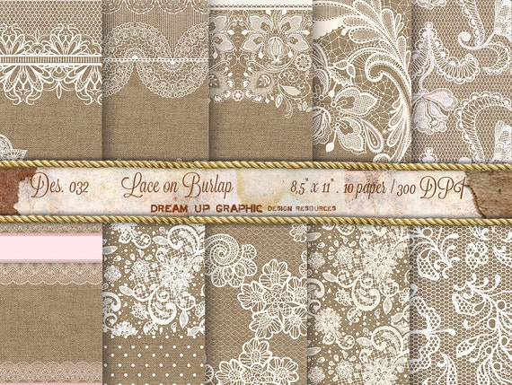 Lace On Burlap Digital Paper Wedding Invitation Rustic Decor Decorations Des 032