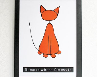 Home is where the cat is | Poster | Illustration | Wall hanging | Home decor | Cat lover