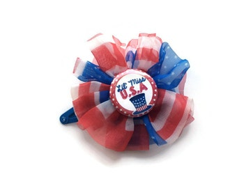 Girls Hair Clip for July 4th - Red White and Blue Patriotic Hair Clip Barrette for Girls - 4th of July Barrette Clip -Red Snap Clip Barrette
