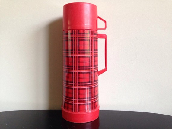 vintage aladdin red plaid thermos 1 quart by thriftedloves Blue Themed Rooms Waterfall Themed Room