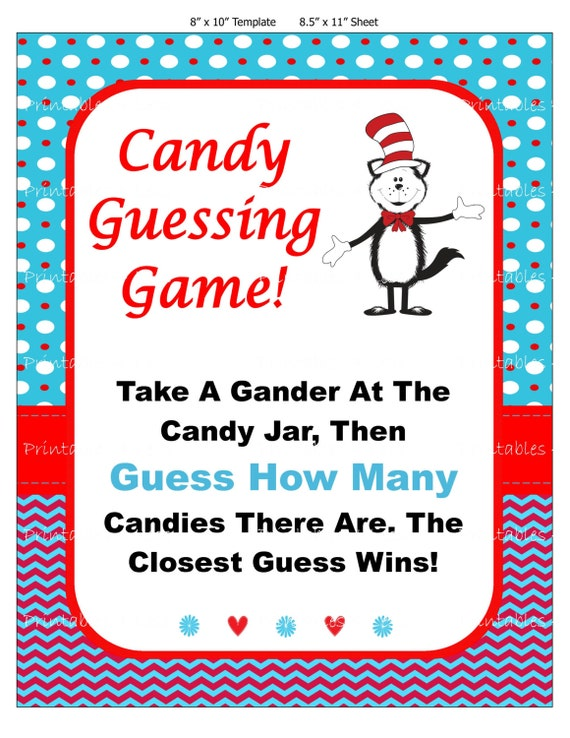 Seuss Candy Guessing Game Seuss Baby Candy Game by Printables4Less