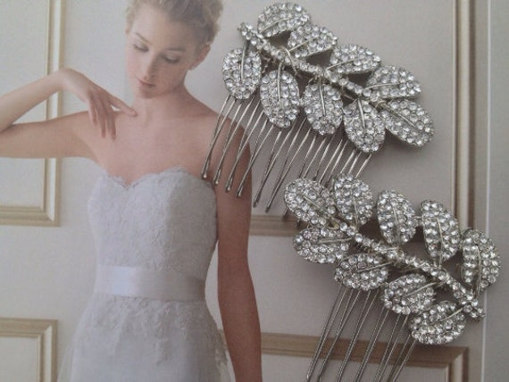Bridal Hair Clips, Bridal Combs,  Crystal Leaf  Comb, Rhinestone Leaf  Clips , Crystal Bridal Hair Comb , Wedding Hair Accessories Set of 2