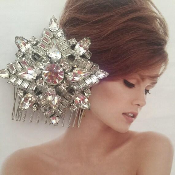 Wedding Headpiece, Bridal Hair Comb,Wedding Hair Accessory, Vintage Rhinestone Comb,Vintage Brooch Comb, Bridal Sash Brooch- STAR BILLING