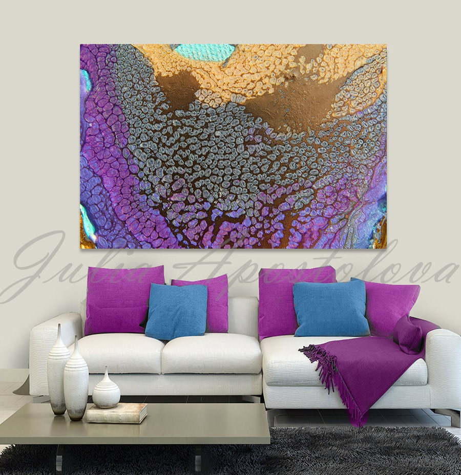 canvas wall art abstract print purple painting gold. Black Bedroom Furniture Sets. Home Design Ideas