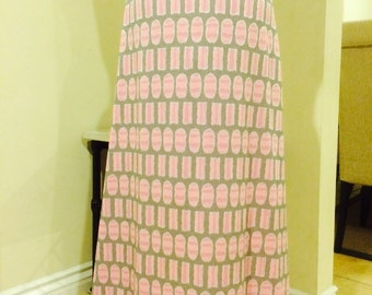 Vintage 1950's Pink and Gray Pattern Maxi Skirt