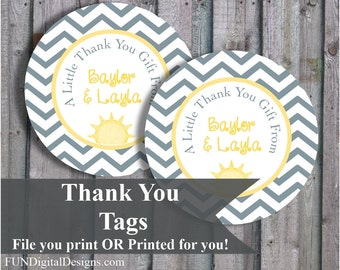 You are my Sunshine Thank you tags, gift favor tags, Printed or Digital you can print, digital file