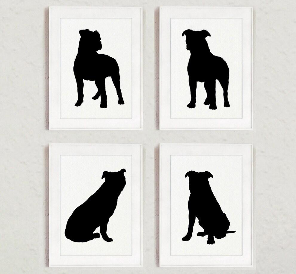 Pitbull Set Of 4 Dog Home Decor Pit Bull Silhouette Ink