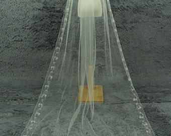 Cathedral Bridal Veil, embroidery edge veil, white ivory wedding veil, a comb veil, wedding accessories,