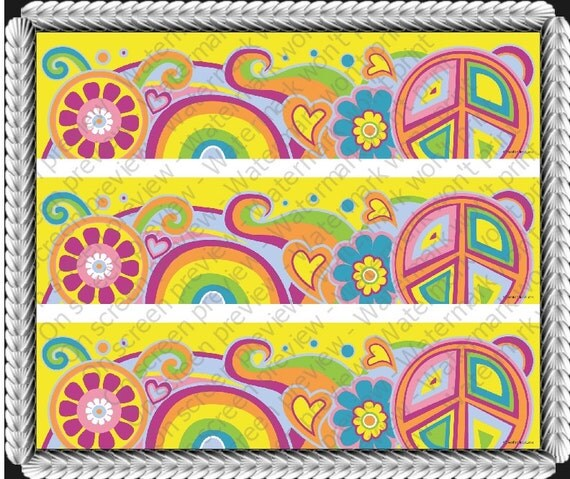 Groovy Peace Hippie - Designer Strips - Edible Cake Side Toppers- Decorate The Sides of Your Cake! - D20196