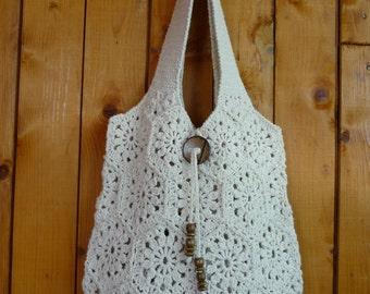 Cream handmade crochet handbag .Summer cotton boho crochet purse