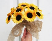 ON SALE Sunflowers Wedding Bouquet Bridesmaid Bouquets Yellow Brown Burlap Ribbon Artificial Flowers Bridal Country Rustic Wedding Accessori