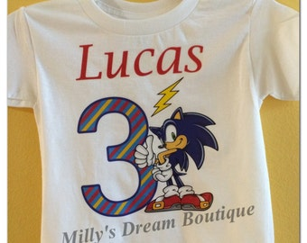 Personalized Sonic Birthday T-shirt/ Boy's personalized shirt/ birthday t-shirt/ Sonic birthday party