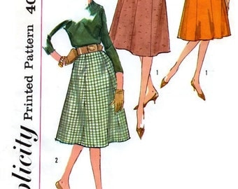 1960s Vintage Set of Skirts Sewing Pattern - Flared A-line Skirt - Simplicity 3676 - UNCUT