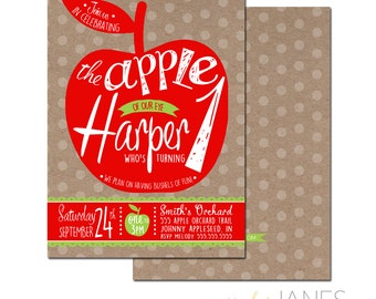Apple of Our Eye Birthday Invitation - 5X7 with *bonus reverse side""