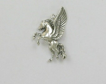 Sterling Silver Rearing Pegasus Charm