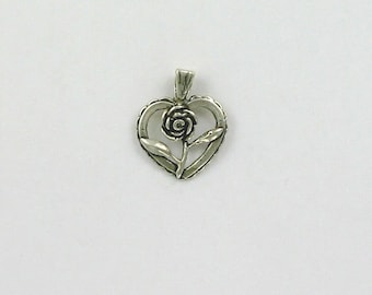 Sterling Silver Rose Heart Charm or Pendant