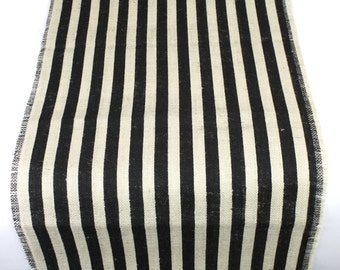 "Striped Burlap Long Runner 23"" x 108"" Black and Ivory rustic, weddings, beach, fringe catering, home decor, nautical theme(BS-L120)"