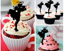 Ca340 New Arrival 10 pcs/Decorations Cupcake Topper/ Street Fighter /Wedding/Silhouette/Props/Party/Food & drink/Vintage/Fun/Birthday/Shop