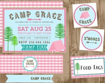 Woodsy GIRL Camping Party Printable SET Invitation - Bottle Wraps - Straw Flags, Party Circles, Toppers, Food Tags, Gingham, pink aqua green