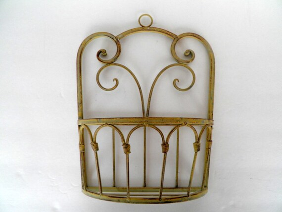 Vintage Half Circle Wrought Iron Wall Flower Planter Wall