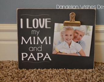 Personalized 8x10 Photo Clip Board: I Love My ... Mimi and Papa, (Grandma and Grandpa, Mom and Dad, Nana and Pops) You Choose The Names!