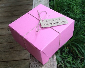 """6"""" x 6"""" x 3"""" Pink Bakery Box - Pastry Box •  Food Safe • Weddings • Cookie Box • Pastry Box • Deli Box • Gifts • Baked Goods"""
