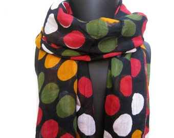 Multicolored scarf/ polka dots scarf/ cotton scarf / black scarf /  gift ideas.