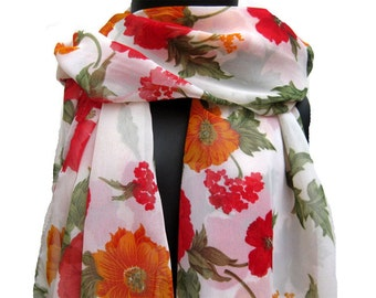 Multicolored scarf/ floral  scarf/ large scarf / chiffon scarf/  women scarf/  gift ideas.