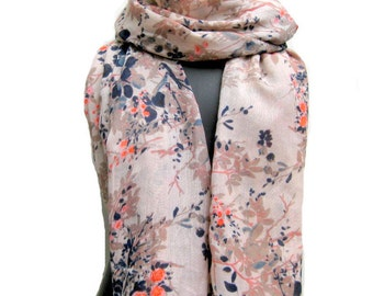 Multicolored scarf/ cotton voil scarf/ fashion scarf/ floral leafy print scarf/ gift scarf / for her/ gift ideas.
