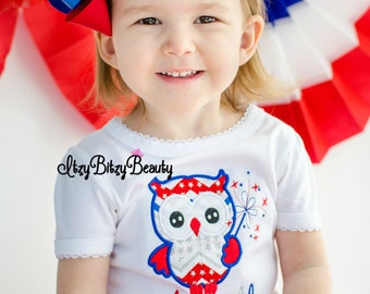 Owl fourth of july patriotic embrodiered bodysuit shirt baby girl personalized name headband