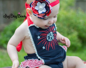 Girls Fourth of July Patriotic ruffle red white and blue romper monogram personalized fireworks