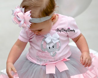 Elephant Birthday Outfit - First Birthday Outfit - Girls Elephant Shirt - Elephant Outfit - Pink Ribbon Tutu - Elephant Birthday Bodysuit