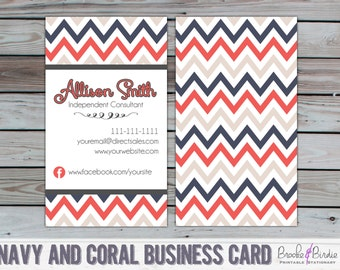 Custom Coral and Blue Chevron Business Card {PRINTABLE} by Brooke & Birdie