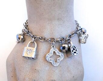Rhinestone Charm Bracelet - Upcycled