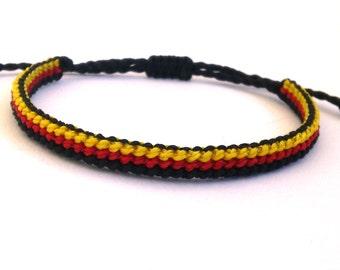 Flag Bracelet, Germany Flag Macrame Bracelet, Surf Bracelet, Friendship Bracelet