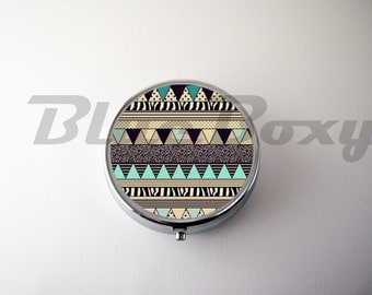 Aztec Geometric Pill Case, Pill Box, Pill Holder
