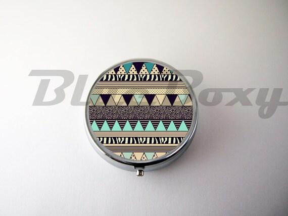 aztec geometric pill case pill box pill holder. Black Bedroom Furniture Sets. Home Design Ideas