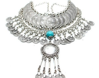 Sultana: handcrafted Silver Plate Turkish Statement Bib Necklace