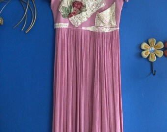 Pink Sunshine Shabby Cottage chic dusty rose pink Country lace Floral Boho broomstick altered Romantic lace Patch embellish maxi Dress L XL