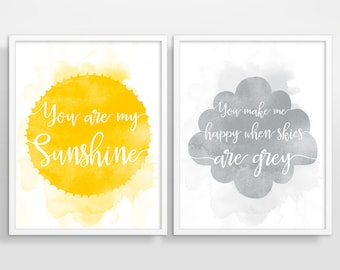 You Are My Sunshine Wall Art, Yellow and Grey Nursery Decor, Kids Room Decor, Nursery Art Print, Kids Wall Art, Set of 2