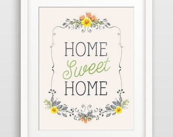 Home Sweet Home Wall Art Print, Inspirational Quote, Home Decor, Housewarming Gift, Hallway Decor, Typography Art, Hostess Gift