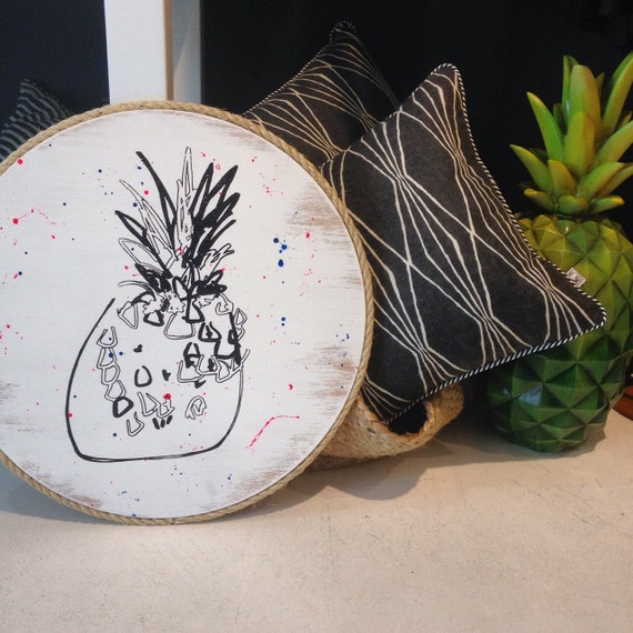 Pineapple Round Wall Art Pop Art Design on Handpainted Timber Porthole Black and White