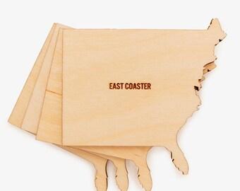 Coaster, Coasters, Personalized Coasters, Wood Coasters, Drink Coasters, East Coaster