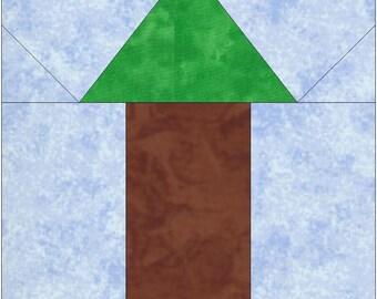Cedar Tree Paper Piece Foundation Quilting Block Pattern