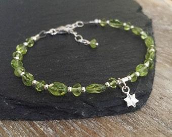 Peridot Bracelet, August Birthstone Bracelet, Sterling Silver Bracelet, Star Charm Bracelet, Olive Green Peridot Bracelet